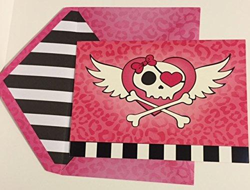 Girls Pink Skulls Fill-in Party Invitations- 10 invitations and coordinating envelopes