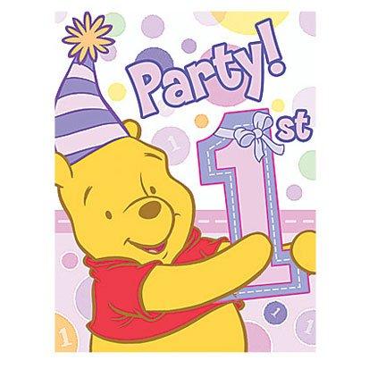 Poohs 1st Birthday Girl Invitations 8ct