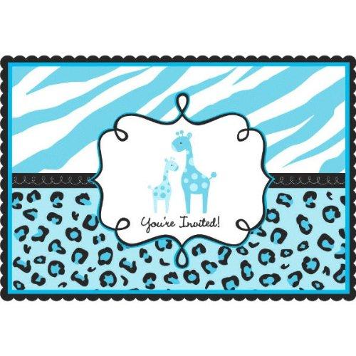 Amscan Sweet Safari Boy Baby Shower Party Postcard Invitations 20 Piece 4-14 x 6-14 - Blue