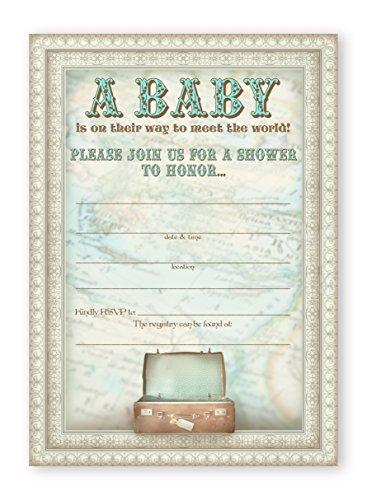 Little Traveler Baby Shower Invitations - 10 Invitations  10 Envelopes