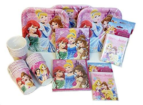 Disney Princess Party Pack Contains 16 Disney Princess Plates 16 Disney Princess Cups 16 Disney Princess Party Invitations 32 Disney Princess Party Lunch Napkins Bundle of 8