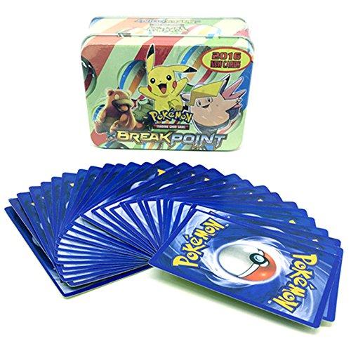 Pokemon 42PCS Metal Box Random English Anime Extra Trading Flash Cards Game Pikachu Cartoon Random Children Gift