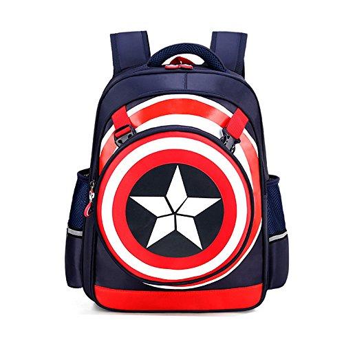 Kids BackpackCaptain America Waterproof Comic School Bag for BoysDark Blue