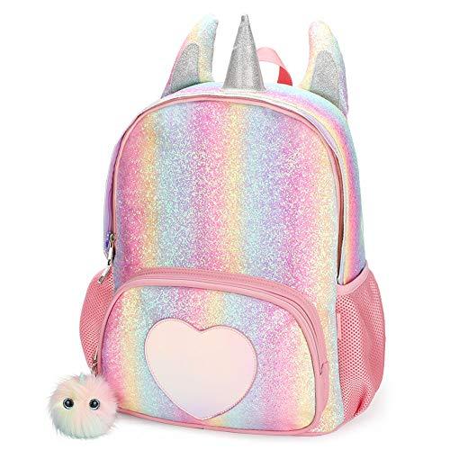Mibasies Kids Unicorn Backpack for Girls Rainbow School Bag Rainbow Glitter