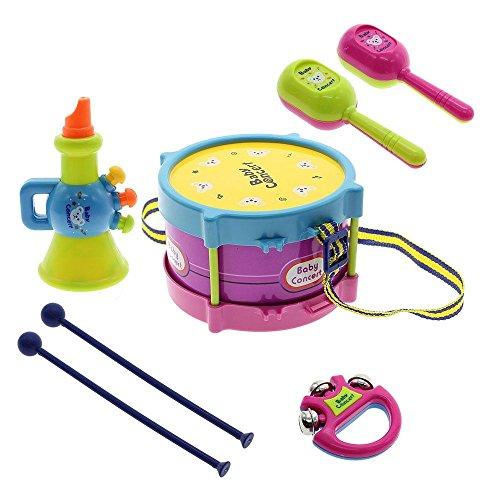 VANKER 1Set Kids Baby Roll Drum Handbell Trumpet Cabasa Musical Instruments Toys Random