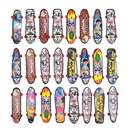 FunsLane Mini Finger Skateboard Fingerboard Mini Skateboard Party Supplies Toy Gift 24 Pcs