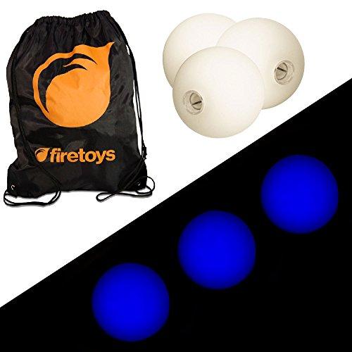 Glow Juggling Ball Set - 3x Blue LED Juggling Balls Firetoys Bag