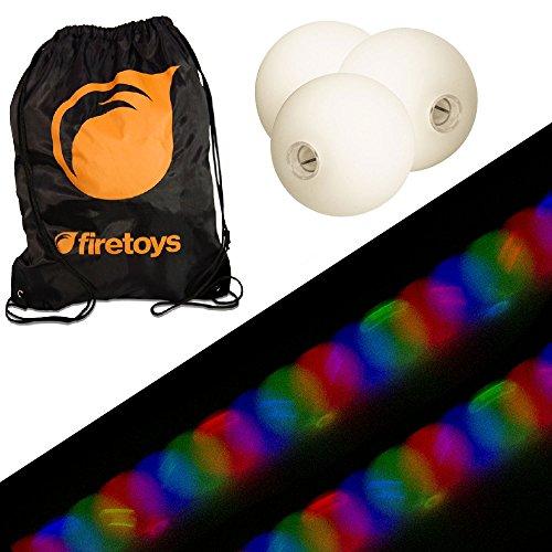 Glow Juggling Ball Set - 3x Strobe LED Juggling Balls Firetoys Bag