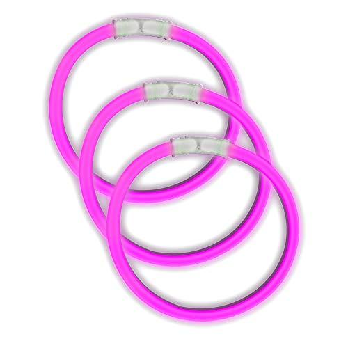 Fun Central 50 Pack - 8 Inch Glow Sticks Bracelet in Bulk Wholesale - Glow Bracelets Party Favor - Pink