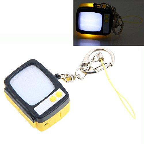 Mzanzi Great Value Novelty Games Exquisite Portable Retro TV Style LED Keychain Yellow