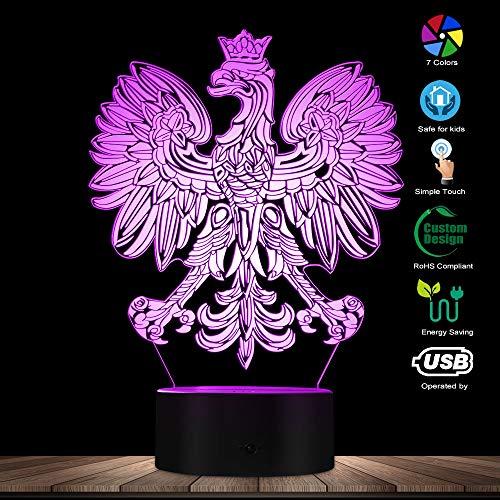 The Geeky Days Polish Coat of Arms Polska 3D Optical Illusion USB Light Home Decor Patriotic Polish Eagle Falcon LED Novelty Desk Night Lamp