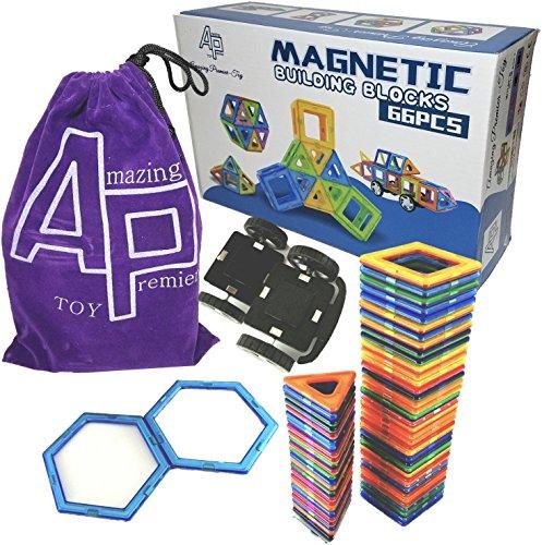 Amazing Premier Toy - 66 pcs Magnetic Building Tiles Blocks Toy  64 shapes  2 wheels  flannel portable storage bag