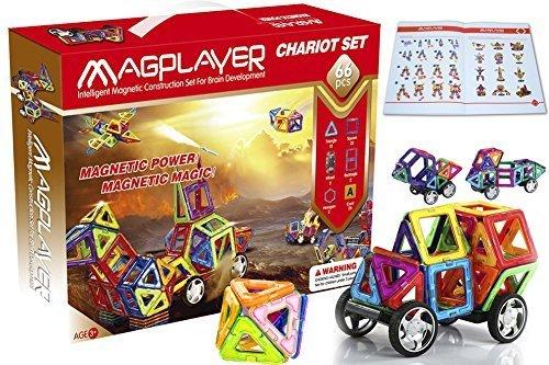 66-piece DIY Magnetic Building Blocks for Kids Magnet Tiles for kids 3D Magnetic Tiles and Magnetic Blocks