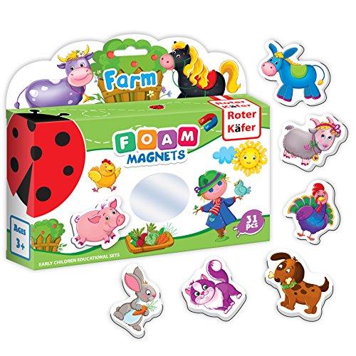Roter Kafer Fridge Magnets for kids Farm Animals 31 pcs Foam Magnetic set for Toddlers EVA Refrigerator Educational Early learning Developmental toys for Children
