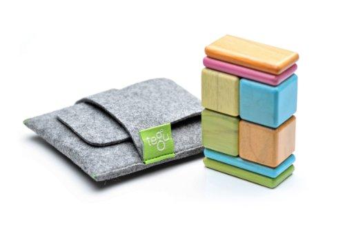 8 Piece Tegu Pocket Pouch Magnetic Wooden Block Set Tints