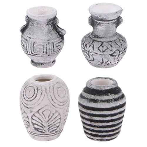 Dollhouse Miniatures Ceramic Porcelain Vase Pot Room Ornament Pack of 4pcs 12th Scale