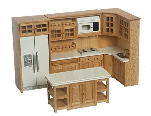 Dollhouse Miniature 112 Scale Complete 8 Piece Kitchen Furniture Set in Oak