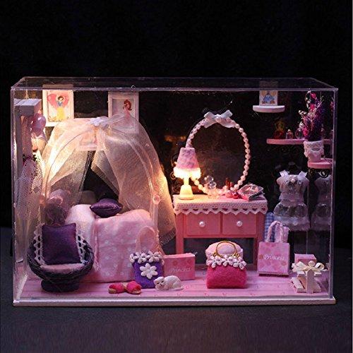 Prettydollhouse DIY Glass Dream House Pink Princess Handmade Wooden Model Dollhouse with Furniture