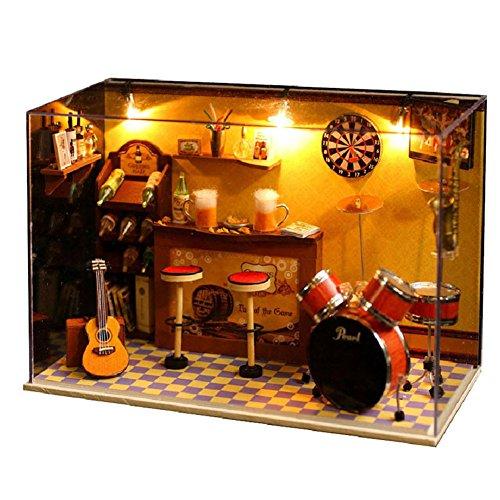 Prettydollhouse DIY Kids Birthday Gift Musical House Handmade Wooden Model Dollhouse with Furniture