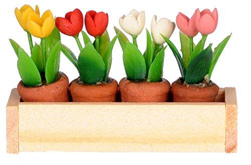 International Miniatures Dollhouse Miniature Window Box w Flower Pots