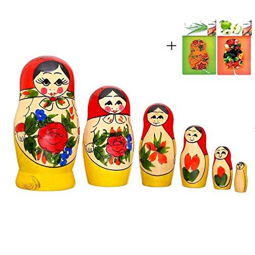 55 Set of 6 Traditional Semenov Matryoshka Authentic Wooden Russian Nesting Dolls