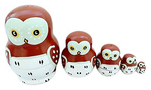 Gogoforward OWL Wooden Russian Nesting Dolls Matryoshka Wood Stacking Dolls