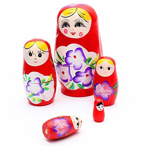Matushka - SODIALR 5x Matroshka Babuschka Matryoshka Matushka Matyoshka Russian Wooden Doll Color Red