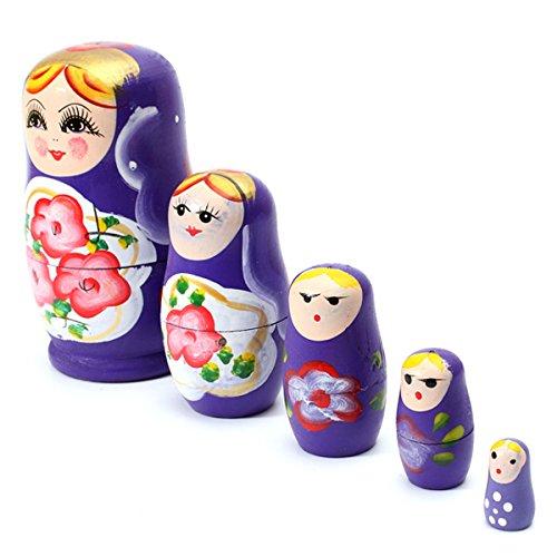 Matushka - TOOGOOR 5x Matroshka Babuschka Matryoshka Matushka Matyoshka Russian Wooden Doll Color Purple