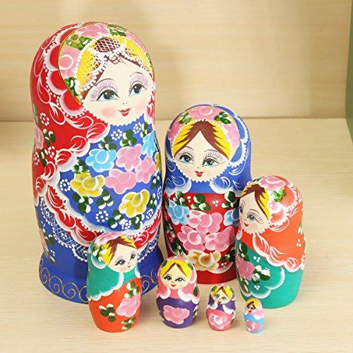 New Matryoshka Set of 7 Nesting Dolls Madness Russian Wooden Dolls Toy By KTOY