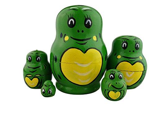 5PCS Cutie Lovely Cartoon Animal Green Frog Nesting Dolls Handmade Matryoshka Russian Doll Toy Gift for Kids Children