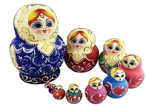 Cute Blond Little Girl Pattern Russian Nesting Dolls Set Matryoshka Handmade Wooden 10 Pieces For Kids Toy Gift Decoration