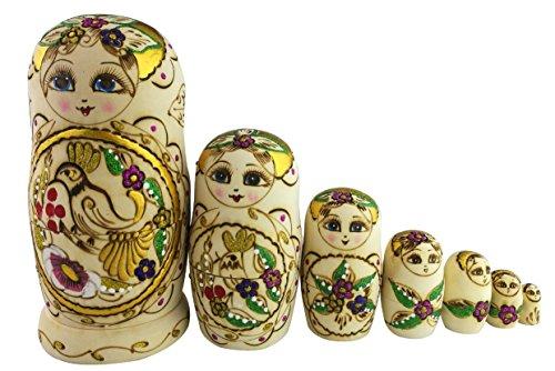 Set of 7 Beautiful Girl and Bird Russian Nesting dolls Matryoshka Christmas Birthday Gift Stacking Toy Kids Home Decoration
