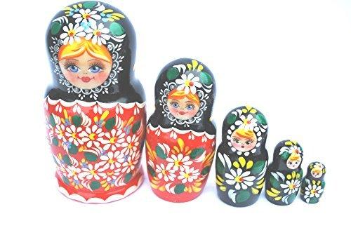 Authentic Russian Hand Painted Handmade Red Nesting Dolls Set of 5 Pcs Artist Signed Matryoshkas 5 Christmas