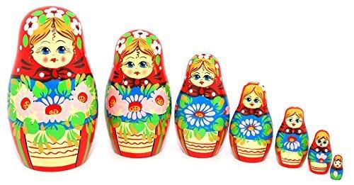 Authentic Russian Hand Painted Handmade Russian Floral Nesting Dolls Set of 7 Pcs Matryoshkas 55