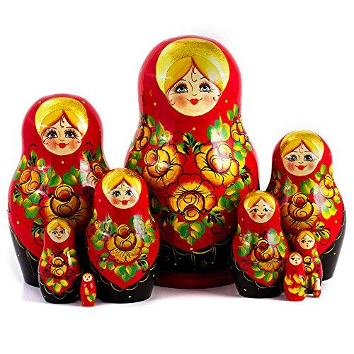 Red Shawl Nesting Dolls Set of 10pcs Matryoshka Dolls