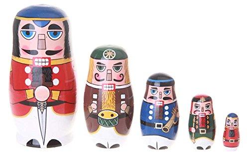 The Nutcracker Russian Wooden Matryoshka Stacking Novelty Nesting Dolls Set Christmas Gift Toy for Kids from WannaBi