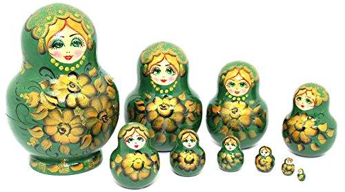 Unique Authentic Hand Painted Handmade Olive Green Nesting Dolls Set of 10 Pcs Russian Matryoshkas