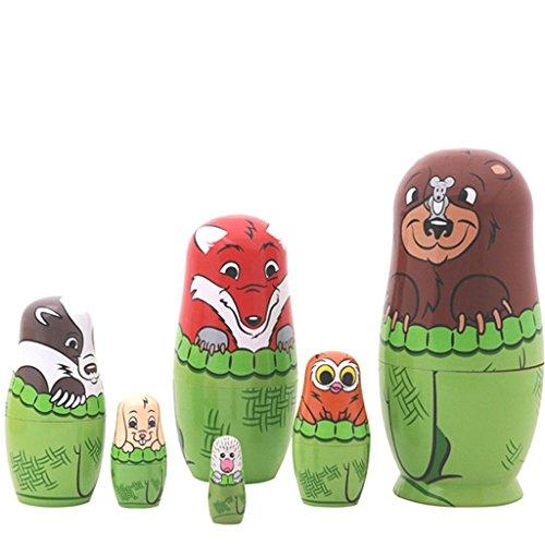 6pcs Cutie Cute Lovely Bear Family Nesting Dolls Matryoshka Madness Russian Doll Popular Handmade Kids Girl Gifts Toy