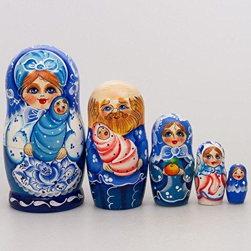 Gzhel Happy Family Nesting Doll Figurine Russian Traditional Matreshka