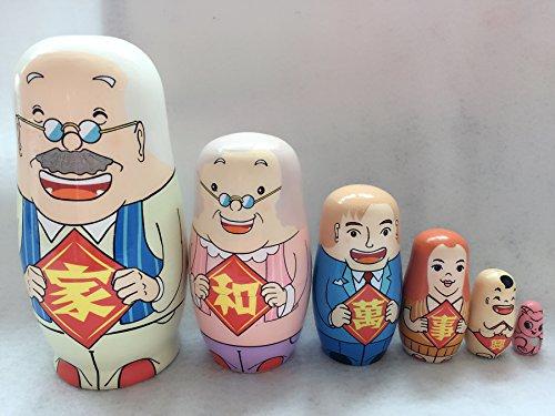HangYun Set of 6 Family Nesting Dolls Matryoshka Madness Russian Doll Popular Handmade Birthday Gifts Home Decoration