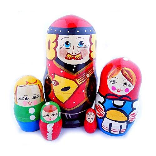 Men With Balalaika Matryoshka Family Wooden Russian Nesting Dolls 6 Inch
