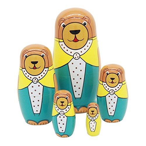 Set of 5 Cutie Lovely Cartoon Animal Bear Family Nesting Dolls Matryoshka Russian Doll Popular Handmade Kids Gifts Toy