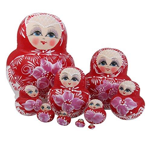 10 Hand Painted Wooden Russian Nesting Dolls Blink Eyes Babushka Matryoshka