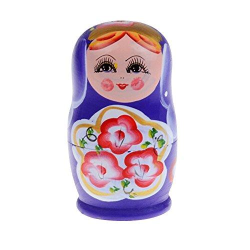 5Pcs Purple Dolls Set Wooden Russian Nesting Babushka Matryoshka Hand Painted Stacking Pattern 47-inch Christmas Gift Purple