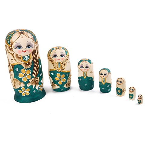 7pcs Hand Painted Wooden Russian Nesting Dolls Babushka Matryoshka Nesting Dolls