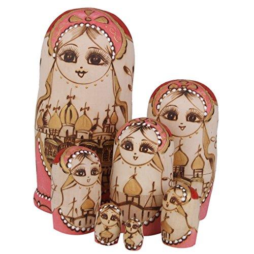 7pcs Hand Painted Wooden Russian Nesting Dolls Castle Babushka Matryoshka