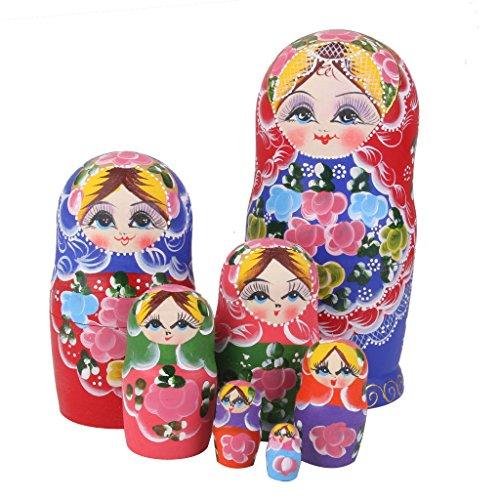 Colorful Flower Wood Russian Nesting Dolls Babushka Matryoshka Art Gift 7pcs