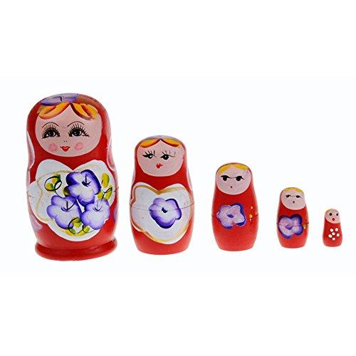 Kasstino 5 in 1 Dolls Wooden Russian Nesting Babushka Matryoshka Hand Painted Gift Toy