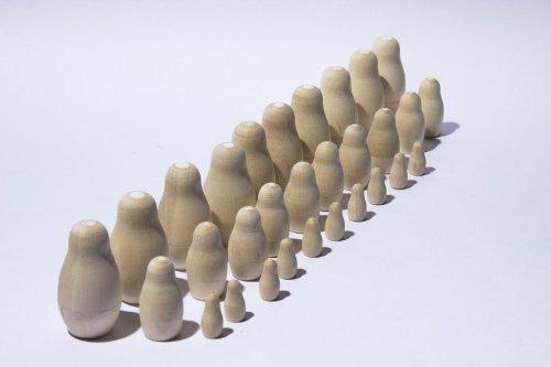 Lot 10 Unpainted Blank Russian Small Nesting Stacking Dolls Matryoshka Babushka Babooshka for Sale 3 Pieces  55 cm 22