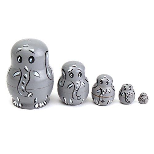 New 5PCS Wooden Russian Babushka Matryoshka Elephant Pattern Doll Nesting Doll Kids Collection Toy By KTOY